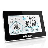BALDR Wetterstation Funk mit Außensensor, Digital Thermometer-Hygrometer für Innen und außen, weiße Hintergrundbeleuchtung und Uhrzeit Anzeige, Schwarz
