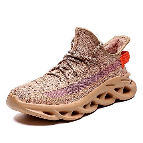 JZTTBO Scarpe da Corsa Cuscino d'Aria Donna Uomo Fitness Scarpe da Ginnastica Corsa Running notturne Fluorescenti,Marrone,42EU