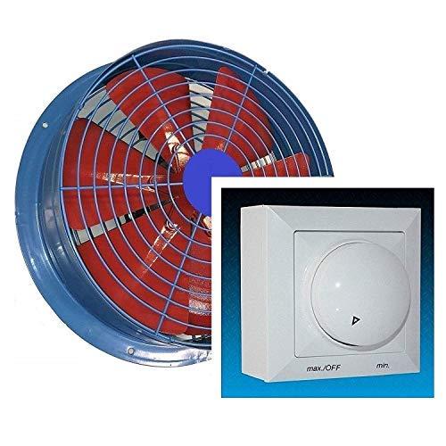 Uzman-Versand 450mm Industrie Wandventilator mit 500Watt DREHZAHLREGLER Axial Wand Ventilator Gebläse Metallventilator Motor Einbauventilator Einbaulüfter Wandgebläse Wandlüfter -