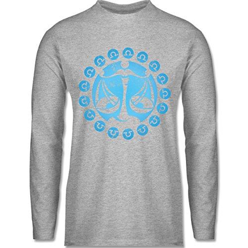 Shirtracer Symbole - Tierkreiszeichen Waage - Herren Langarmshirt Grau  Meliert