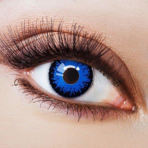 Farbige Kontaktlinsen Blau Ohne Stärke Blaue Crazy Weiche Motiv-Linsen Farbig Halloween Karneval Fasching Cosplay Kostüm Werwolf mit Rand Schwarz Dunkelblau (Werwolf Kostüm Frau)