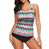 DISSA SY410603 Damen Trägerlos Swimsuit 1 Pieces Tankini Top Swimwear,Rose,XXXL-EU 44