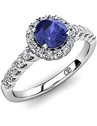 Moncoeur Ring Solitär Pavé Violette Tansanit + Verlobungsringe 925 Sterling Silber + Silberring Tansanit und Swarovski Steine + Heiratsantrag Ringe Silberringe + Comfort Fit + Luxusetui