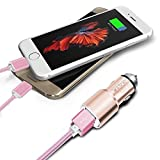 I-Sonite Rose Gold Car Charger & 2 x 1M Micro USB Data -