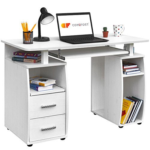 COMIFORT Mesa de Ordenador, Escritorio, Mesa de Oficina, 115x55x85 cm (Nordic)