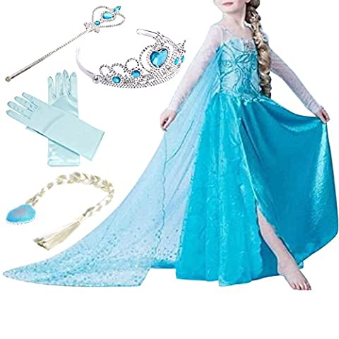 Timesun® Mädchen Prinzessin Schneeflocke Süßer Ausschnitt Kleid Kostüme mit Diadem, Handschuhen, Zauberstab und Zopf, Gr. 98/140 (130 ( Körpergröße 130cm ), #01 kleid mit 4 Zubehör)