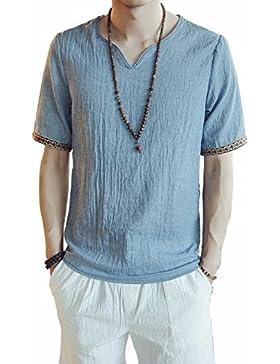 I VVEEL Uomo le parti superiori di estate della camicia di lana del manicotto di breve durata casuale