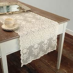 Idea Regalo - Runner Pizzo Poliestere Shabby Chic Poly-Vent Collection Colore Avorio