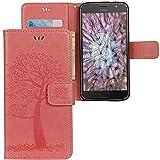 CLM-Tech Motorola Moto G5 Plus Hülle Tasche aus Kunstleder, Leder-Tasche Lederhülle, Baum Eule rosa