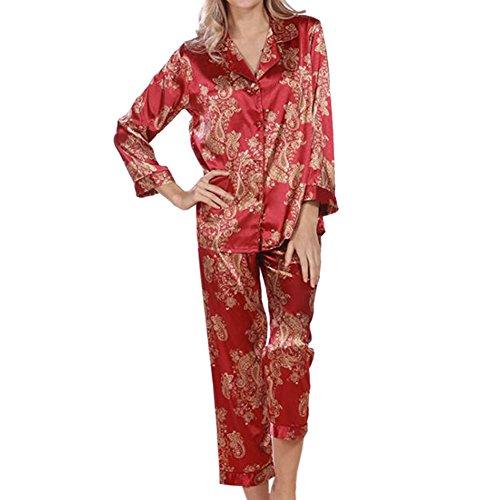 Zhuhaixmy Damen Satin Seide Pyjama-Set Lange Ärmel Nacht Kleidung Schlafanzüge 2 Stück Blumen Geometrisch Umlegekragen V-Ausschnitt Button-Down Frauen Loungewear Nachtwäsche Nachthemd (Satin Stück 2 Pjs)