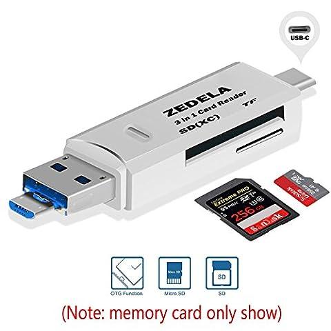 ZEDELA SD Kartenleser USB Type C//USB 2.0/Micro USB OTG 3