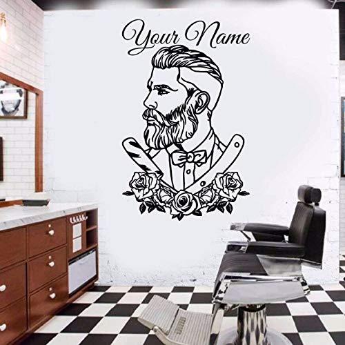 zqyjhkou Friseur Wandtattoo Tattoo Hipster Personalisierte Name Wandaufkleber Mann Salon Abziehbilder Friseur Abnehmbare Fenster Poster Ay0165 57x88 cm -