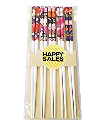 Happy Sales 5 Pairs Chopsticks Flower & Leaves Design White 7179