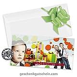 50 Stk. Multicolor-Geschenkgutscheine + 50 Stk. Kuverts + 50 Stk. Schleifen für Mode, Kindermode, Bekleidung FA253