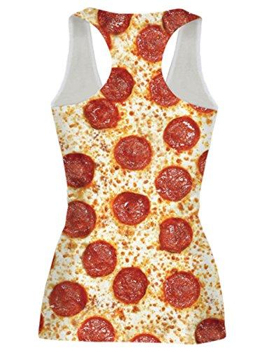 Chicolife Femmes Funny Casual Racer Back Débardeur sans manches Tops Shirt Multi-couleur S-XL Pizza