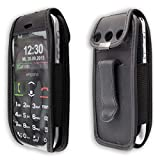 caseroxx Handy-Tasche Ledertasche mit Gürtelclip für Emporia Euphoria V50 aus Echtleder, Handyhülle für Gürtel (mit Sichtfenster aus schmutzabweisender Klarsichtfolie in schwarz)