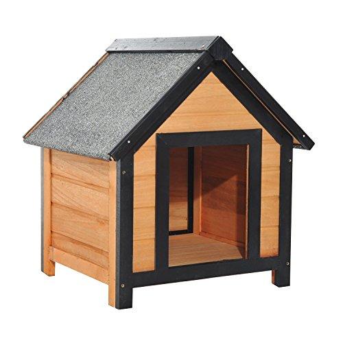 Pawhut – cuccia per cani da esterno con tetto spiovente in legno di abete impermeabile 56 x 60.5 x 66cm