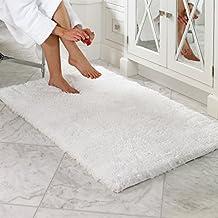 Norcho Carpette Tapis de Luxe Anti-glissant et Antibacterienne Microfibre Souple pour Salle de Bain 50X80cm Blanche