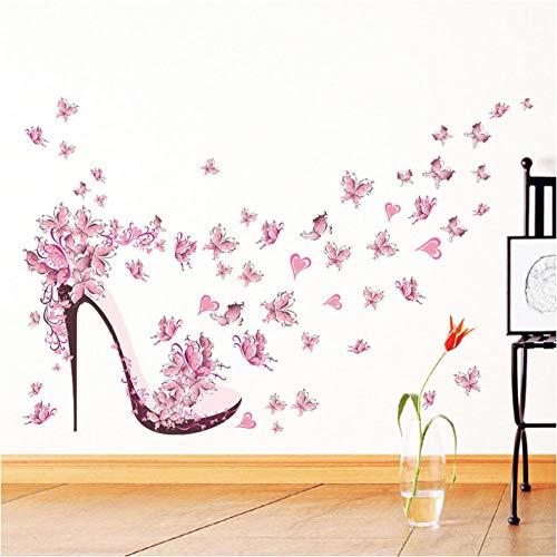 Moda Scarpe Tacco Alto Farfalle Volanti Cuore Adesivo Murale Fiore Decalcomanie In Pvc Decorazioni Per La Casa Decorazioni Per La Camera Della Ragazza Poster