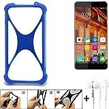 K-S-Trade Handyhülle für Elephone S3 Lite Bumper Schutzhülle Silikon Schutz Hülle Cover Case Silikoncase Silikonbumper TPU Softcase Smartphone, Blau (1x), Headphones