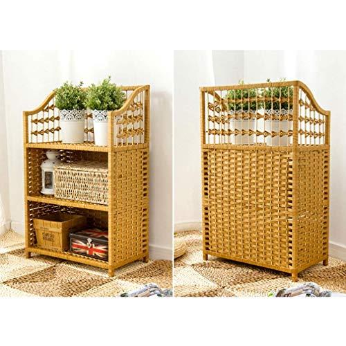 MU Haushalt Zuhause Regal Einfaches Bücherregal Nachttisch Stroh Schrank Mehrschichtiges Regal Retro Bodenmontierter Erker Rattan Aufbewahrungsschrank -