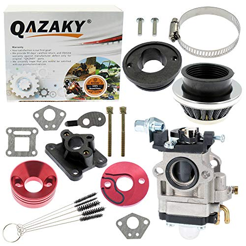QAZAKY 15mm vergaser Dichtung Luft für 2-takt-Motor 33cc 43cc Pit Dirt Pocket-Mini Bike ATV Roller Chopper Quad Moped go Kart ansaugstutzen Rohr Alloy Adapter stapel kit Filter (Mini-gas-chopper 49cc)