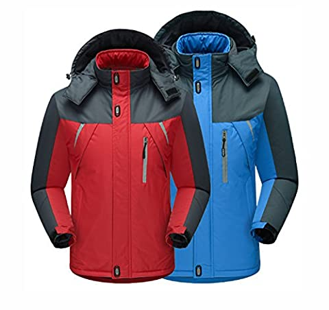 New Outdoor Waterproof Warm Men's Jackets Raincoat Épaississement Windproof Voyage Sportswear Camping Randonnée Mountaineer Voyage Automne Hiver ( Color : Blue )