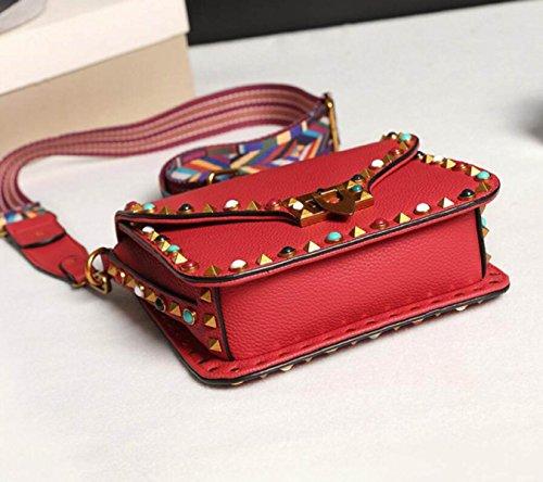 Borsa A Tracolla Della Spalla Del Sacchetto Della Borsa Del Quadrato Delle Donne Grande Spalla Della Cinghia Di Spalla Rivetta Retro Lock Ladies Leather Handbag Red