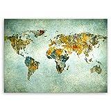 ge Bildet hochwertiges Leinwandbild - Weltkarte Retro - Weltkarte Leinwand - 100 x 70 cm einteilig | Wanddeko Wandbild Wandbilder Wohnzimmer deko Bild | 2200 I