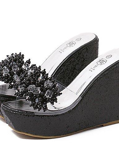 UWSZZ IL Sandali eleganti comfort Scarpe Donna-Sandali-Formale / Casual-Zeppe / Spuntate / Plateau-Zeppa-Silicone-Nero / Argento / Dorato golden