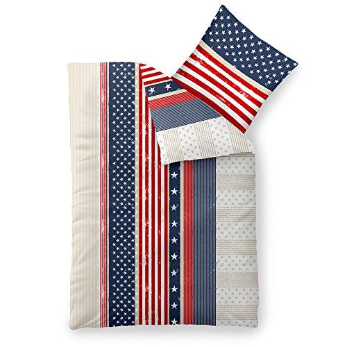 CelinaTex Fashion Bettwäsche 155 x 220 cm 2teilig Baumwolle America Sterne Streifen Weiß Blau Rot (Blau Weiß Sterne Rot)
