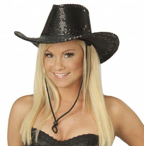 NET TOYS Schwarzer Cowboy Hut Damen Cowboyhut Pailletten Hut Westernhut Kopfbedeckung schwarz