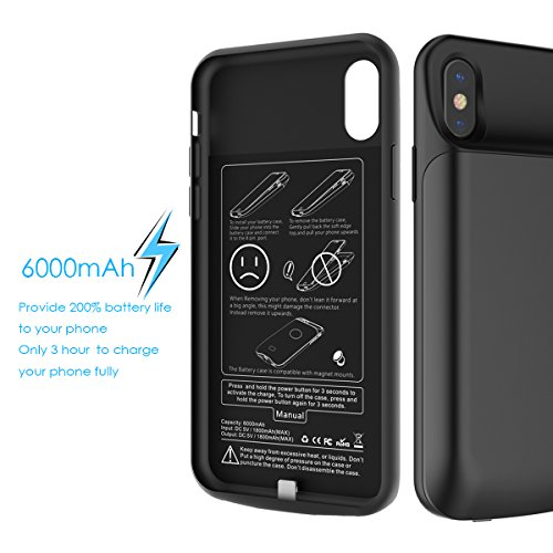 Custodia Batteria iphone X, CASEWIN 6000mAh Li-Polymer Caricabatterie portatile Pack Ricaricabile Esterna Power Bank Integrata Charger Prottetiva Case Cover per iphone X - Black (black-2) black-1
