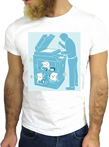 T SHIRT JODE z2795 FUNNY IRRIVERENT COPY MACHINE USA OFFICE NICE IRRIVERENT GGG24 BIANCA - WHITE