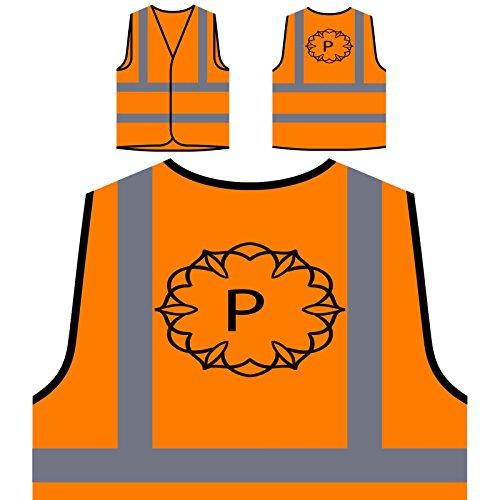 P Brief Kunst Alphabet Personalisierte High Visibility Orange Sicherheitsjacke Weste p168vo (Briefe Personalisierte)