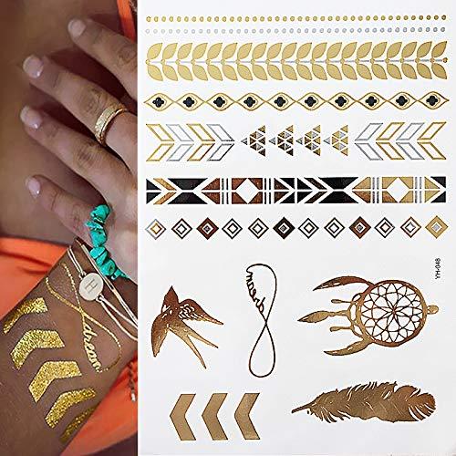 Anzihuanxi tatuaggi all'henné in argento metallizzato e oro con ali d'angelo 15x21cm4ps