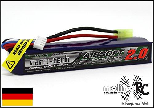 Turnigy nano-tech 2000mah 2S 15-25C Lipo Softair Akku Pack von Modellbau Eibl 7.4 V Pack