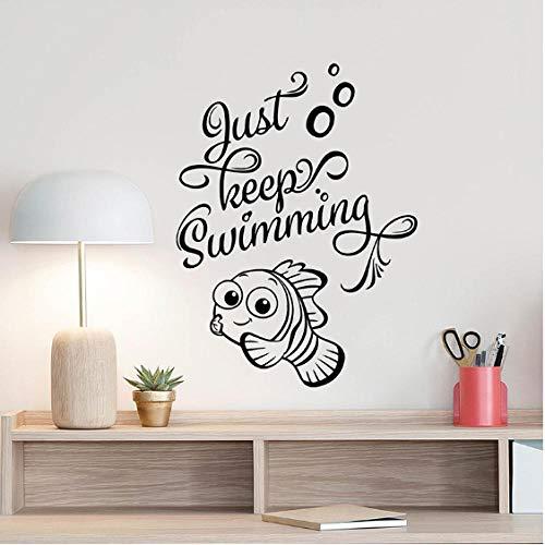 Wandtattoo Findet Nemo Dory Kunst Poster Fisch Bad Zitat Vinyl Aufkleber Für Kinderzimmer Schlafzimmer Dekor 57X76 Cm ()