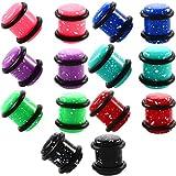 Guolipin Kit per Allungare Le Orecchie Kit per Unghie Conico Set di Orecchini per Orecchini a Forma di Orecchio a Tunnel a Forma di Cuore (Color : Purple)