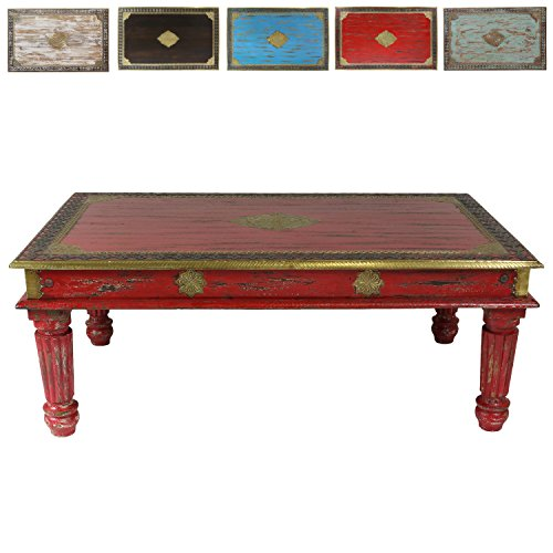 Roter Couchtisch im Shabby Chic Stil Holz Wohnzimmertisch Holztisch Tisch Vintage Retro nostalgisch Used-Look Antik-Look Landhaus-Stil 120 cm Mango M4