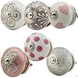 Möbelknopf Möbelknauf Möbelgriff 6er Set Nr.10 205 Farbe rosa grau Keramik Porzellan handbemalte Vintage Möbelknöpfe für Schrank, Schublade, Kommode, Tür - Jay Knopf