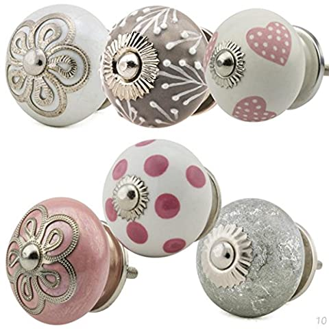 Ceramic Furniture Knobs Assorted Set 6pcs No.10 205 Multicolour pink grey handpainted porcelain drawer pulls cabinet knob handles - Jay Knopf