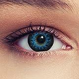 Designlenses Cosplay Kontaktlinsen mit Sehstärke High intensive Farbige Monatslinsen weich, 2 Stück,/BC 8.8 mm/DIA 14.5 mm/-7 Dioptrien, blau