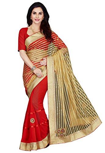 Ishin Georgette & Net Red & Beige Embellished Bollywood Women\'s Saree