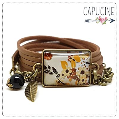 Bracelet manchette fleurs marron avec cabochon verre - Bracelet breloques bronze - Bracelet 3 tours - Bracelet La Cage aux Oiseaux