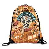 Skull Print Drawstring Backpack Rucksack Shoulder Bags Gym Bag Sport Bag
