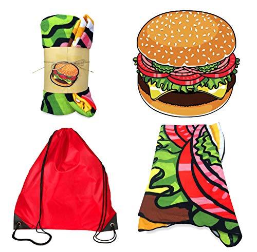 Tex family telo mare sagomato a forma di hamburger in microspugna misura grande cm. 150x150 con zaino portatelo