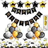 iZoeL Decorazione Compleanno Nero Oro Argentato Nero Happy Birthday Banner 40 Palloncini di Coriandoli 6 Stella Palloncini Happy Birthday Confezione coriandoli