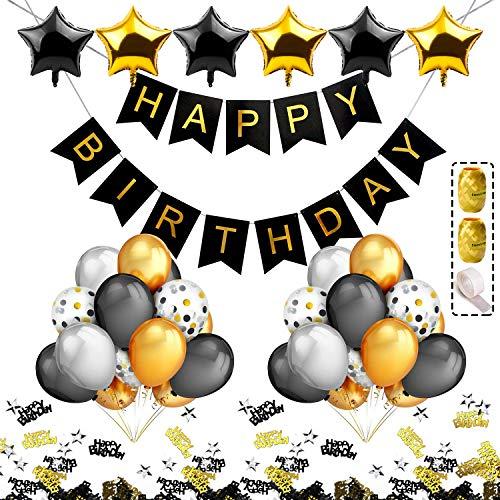 ty Dekoration Schwarz Gold Silber für Männer Happy Birthday Girlande Ballons 40 Konfetti Luftballons Tisch Deko Konfetti ()