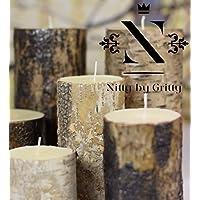 Nitty by Gritty hochwertige Kerze mit natürlicher Rinde 4er bis 8er Paket / S - XXL ( Brennzeiten bis zu 150 Stunden ) (3x S, 3x M, 2x L)
